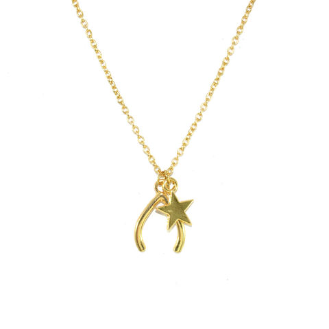 WISH,BONE,AND,STAR,CHARMS,NECKLACE,WISHBONE NECKLACE, STAR NECKLACE, WISHBONE AND STAR NECKLACE