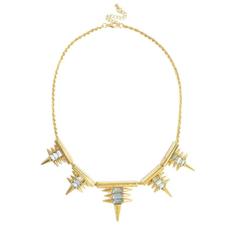 MULTI SPIKE AND CRYSTAL PENDANTS NECKLACE - product image