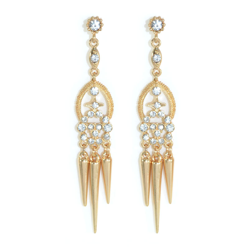 MULTI CRYSTAL AND SPIKE DROP EARRINGS - product image