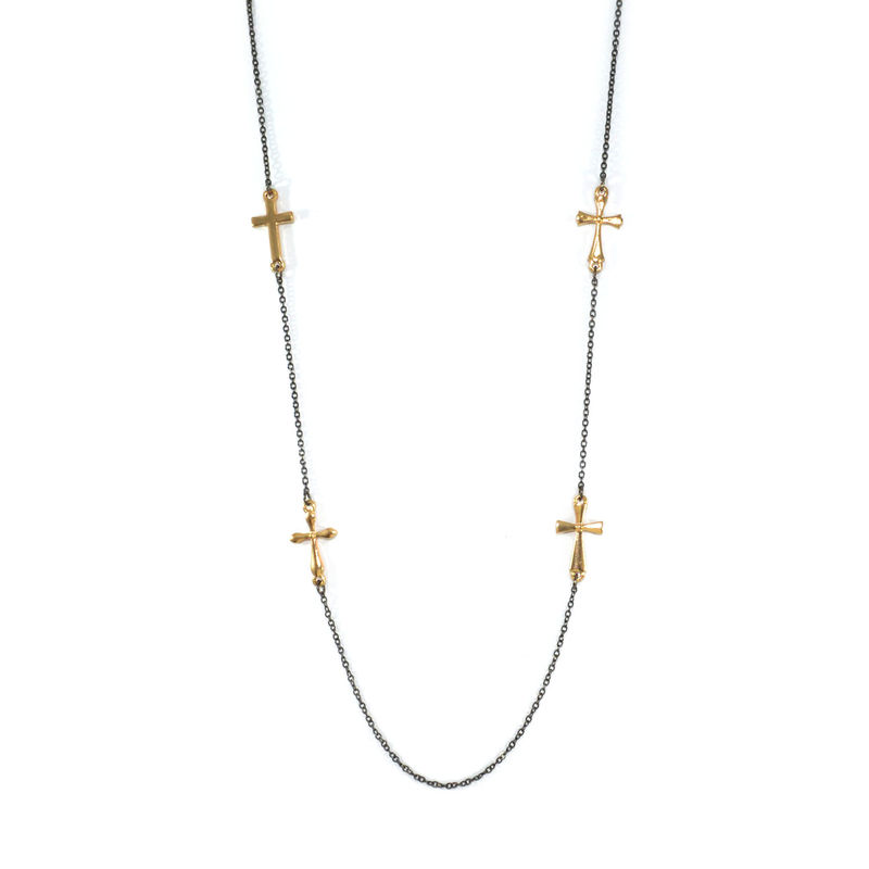 MULTI CROSS PENDANT LONG NECKLACE - product image