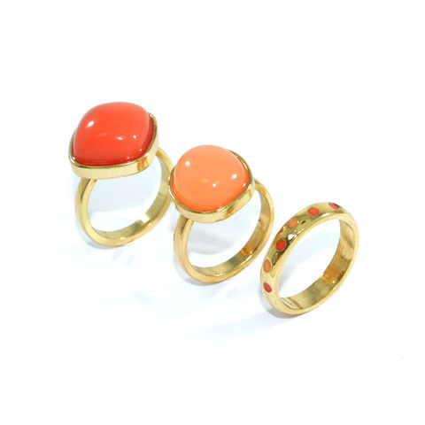 GEM,RING,SET,GEM RING, ORANGE GEM RING, PINK GEM RING, DOTTED RING, ORANGE PINK GEM RING SET