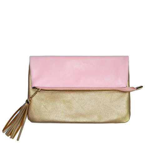 FOLD,OVER,CLUTCH,BAG,FOLDED CLUTCH BAG, FOLDED BAG, FOLDED HANDBAG,PINK CLUTCH BAG, PINK AND GOLD CLUTCH