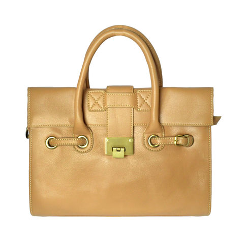 FRONT,FLAP,SINGLE,LOCK,HANDBAG,LEATHER HANDBAG, SINGLE LOCK HANDBAG, LIGHT BROWN SINGLE LOCK HANDBAG
