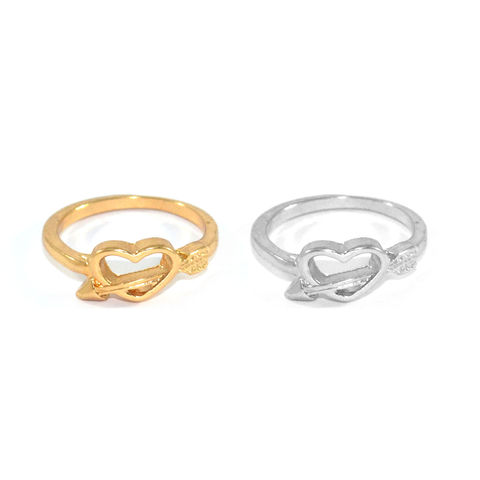 HEART,WITH,ARROW,RING,HEART AND ARROW RING, GOLD HEART RING, SILVER HEART RING, GOLD HEART WITH ARROW RING, TWIST ARROW AND HEART RING