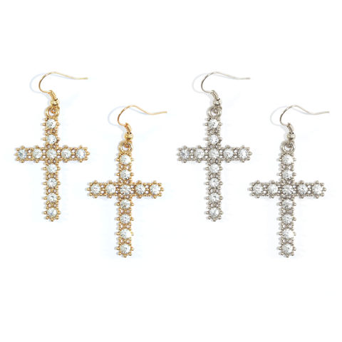 CRYSTAL,DANGLING,CROSS,EARRINGS,CROSS EARRINGS, CRYSTAL CROSS EARRING, DANGLING CROSS EARRINGS