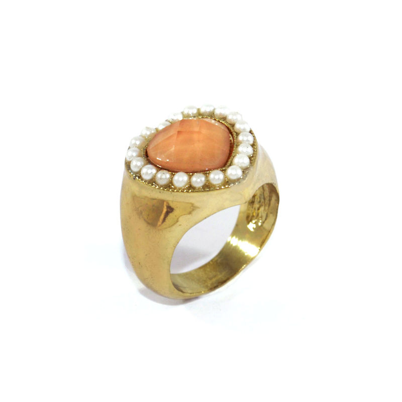 CRYSTAL AND PEARL HEART RING - product image
