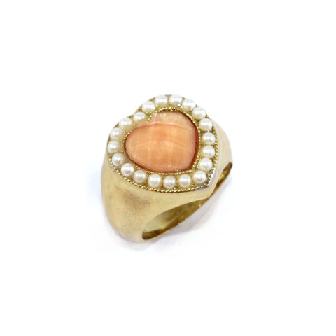 CRYSTAL,AND,PEARL,HEART,RING,CRYSTAL HEART RING, HEART RING, PEARL EDGE DECOR HEART RING, PEARL AND CRYSTAL HEART RING