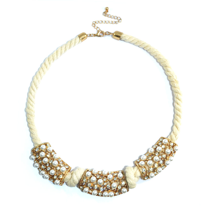 PEARL AND CRYSTAL PENDANT ROPE NECKLACE - product image