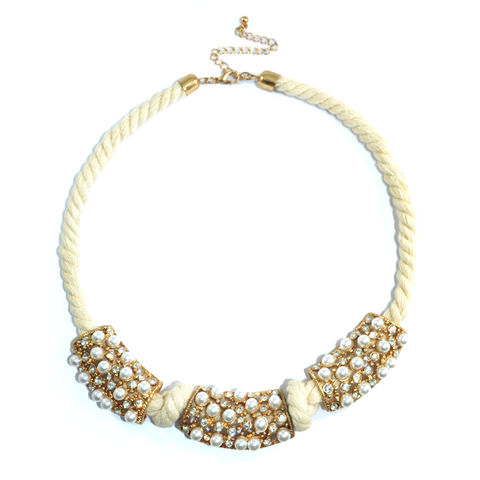 PEARL,AND,CRYSTAL,PENDANT,ROPE,NECKLACE,PEARL AND CRYSTAL COLLAR NECKLACE, PEARL AND CRYSTAL ROPE COLLAR NECKLACE, PEARL WITH COTTON ROPE COLLAR NECKLACE