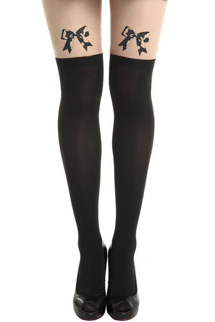 BOW TATTOO PATTERN TIGHTS - product image