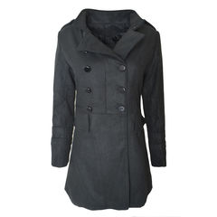 DOUBLE,BREASTED,LONG,COAT,BLACK LONG COAT, BLACK DOUBLE BREASTED LONG COAT,SYNTHETIC WOOL BREASTED LONG COAT