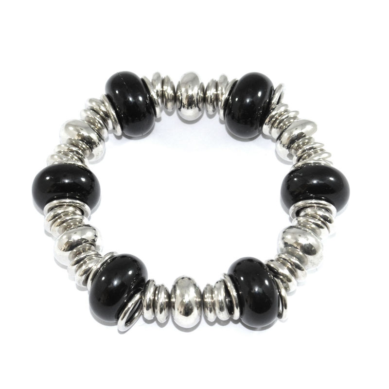 BLACK AND SILVER BEADS BRACELET - product image