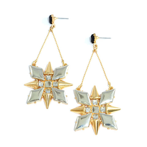 DANGLING,DARTS,EARRINGS,DARTS EARRING, GOLD AND SILVER DART EARRING, crystal decor dart earrings