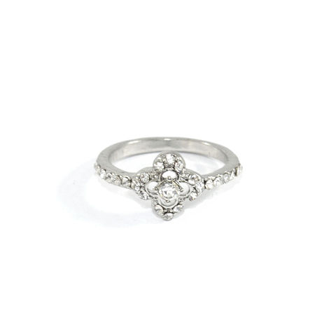 CRYSTAL,CLOVER,RING,CLOVER RING, SILVER CLOVER RING, CRYSTAL DECOR CLOVER RING