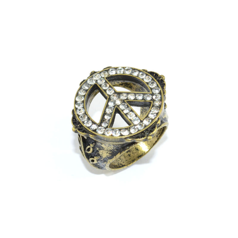 VINTAGE STYLE ENGRAVED PATTERN CRYSTAL PEACE RING - product image