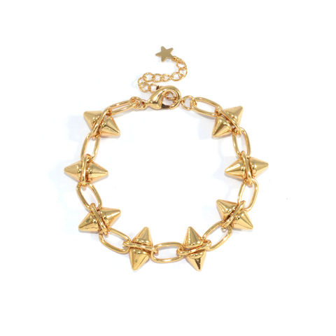 MINI,DOUBLE,SPIKE,BRACELET,SPIKE BRACELET, SPIKE AND CHAIN BRACELET, GOLD SPIKE BRACELET