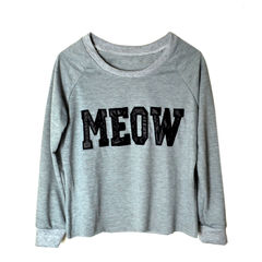 MEOW,CROPPED,JUMPER,grey jumper, cat jumper, meow print jumper, CROPPED JUMPER