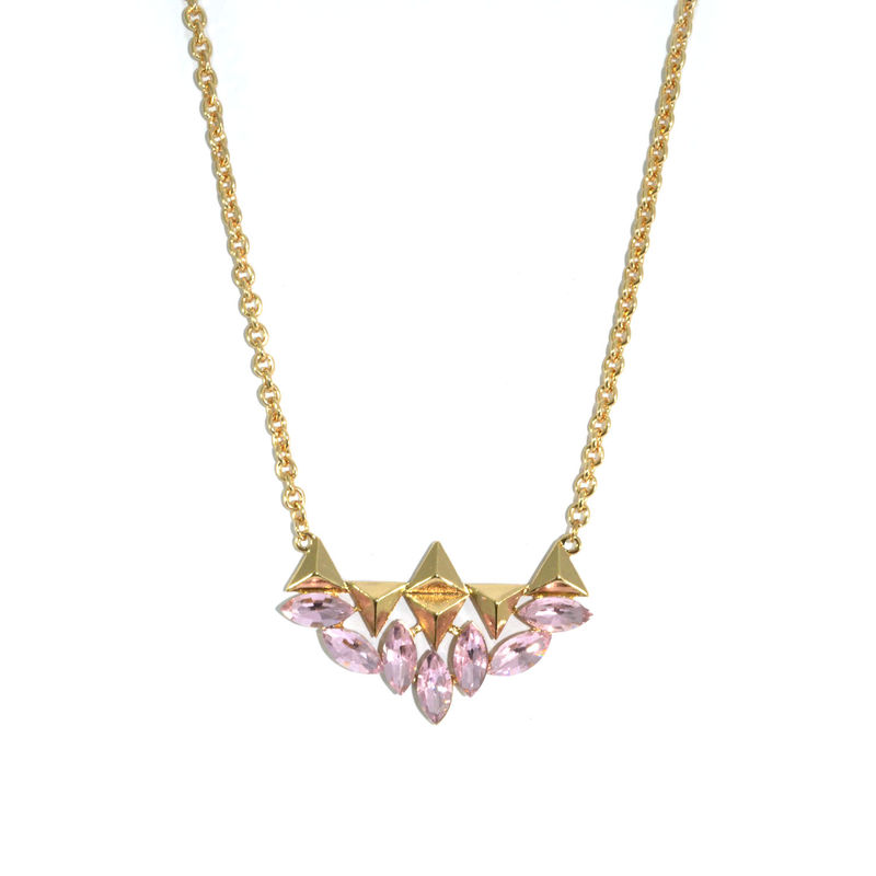 MULTI TRIANGLE AND CRYSTAL PENDANT NECKLACE - product image