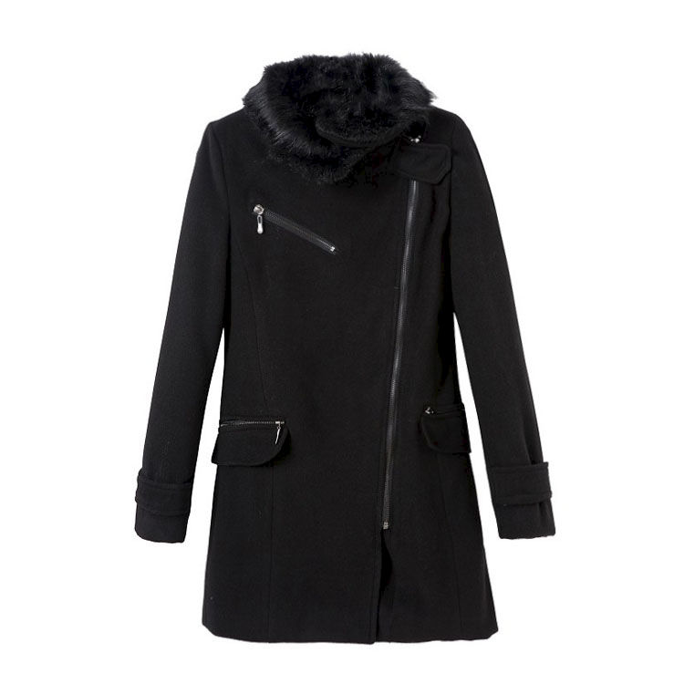FUR COLLAR ZIPPER COAT - product image