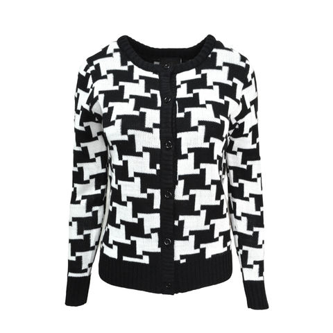 PATTERN,CARDIGAN,BLACK AND WHITE PATTERN CARDIGAN, SIMPLE PATTERN CARDIGAN