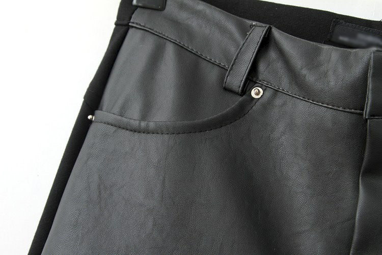 LEATHER PANELLED SKINNY TROUSERS - product image