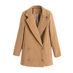 LAPEL,KHAKI,COAT,khaki coat, lapel coat, light brown coat, button coat, lapel button coat