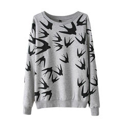 FLYING,SWALLOW,PRINT,SWEATER,(sold-out),FLYING BIRD SWEATER, SWALLOW SWEATER, SWALLOW PRINT DESIGN SWEATER, GREY SWALLOW PRINT SWEATER