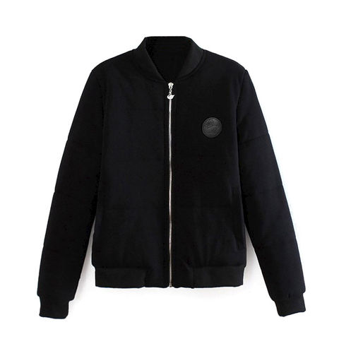 BADGE,AND,PADDED,BOMBER,JACKET,BLACK BOMBER JACKET, BADGE BOMBER JACKET, PADDED DESIGN BOMBER JACKET
