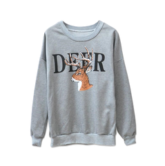 DEER,SWEATER,animal sweater, animal print sweater, deer jumper, deer print jumper