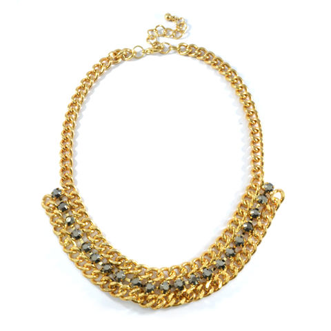 CHUNKY,CHAIN,WITH,CRYSTAL,NECKLACE,CRYSTAL NECKLACE, CHAINNECKLACE, CHUNKY CHAIN NECKLACE, GOLD CHAIN NECKLACE, GOLD CHAIN WITH CRYSTAL NECKLACE