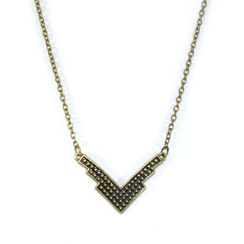 ARROW,NECKLACE,DOTTED NECKLACE, DOT PATTERN PENDANT NECKLACE, ARROW PENDANT NECKLACE, VINTAGE ARROW NECKLACE, V NECKLACE