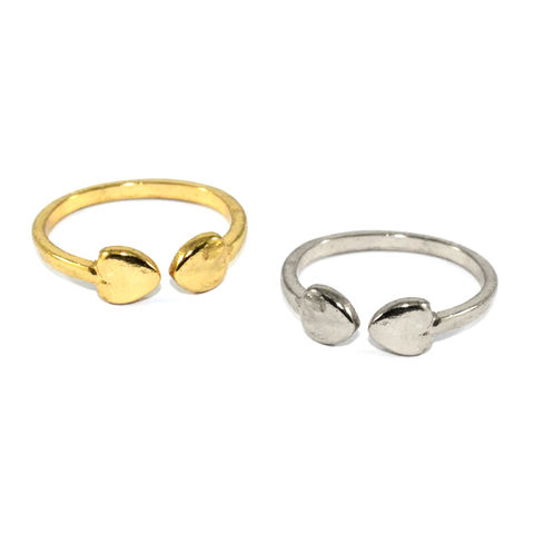 DOUBLE,MINI,HEART,RING,HEART RING, MINI HEART RING, GOLD HEART RING, SILVER HEART RING