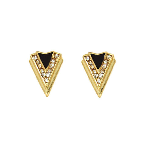 CRYSTAL,DECOR,TRIANGLE,EARRINGS,TRIANGLE EARRINGS, CRYSTAL TRIANGLE EARRINGS, REVERSE TRIANGLE EARRINGS, BLACK AND GOLD TRIANGLE EARRINGS