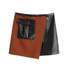 LEATHER,LOOK,UTILITY,SKIRT,leather skirt, two tone leather skirt, two tone utility skirt, PU LEATHER UTILITY SKIRT