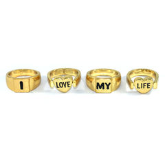 I,LOVE,MY,LIFE,RING,SET,LOVE RING, HEART RING, LOVE MESSAGE RING, GOLD LOVE RING, GOLD LOVE MESSAGE RING