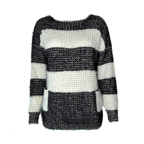 BLOCK COLOR KNIT JUMPER WITH EYELASH TRIM - product image