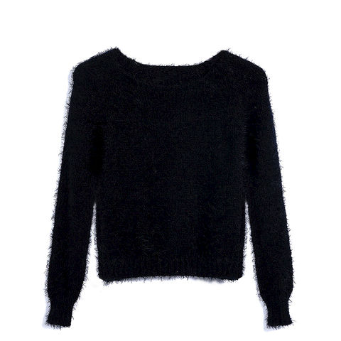 SHORT,KNIT,JUMPER,WITH,EYELASH,TIM,black Fluffy Crop Jumper, KNIT FLUFFY JUMPER, BLACK KNITTED FLUFFY JUMPER, EYELASH TIM JUMPER
