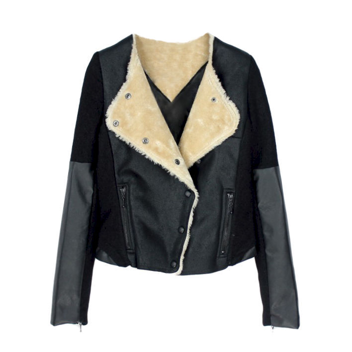 LEATHER LOOK AND SUEDE JACKET - product image