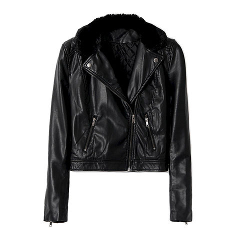LEATHER,LOOK,BIKER,JACKET,WITH,FAUX,FUR,COLLAR,fur biker jacket, leather biker jacket, leather jacket, fur collar biker jacket, black leather biker jacket