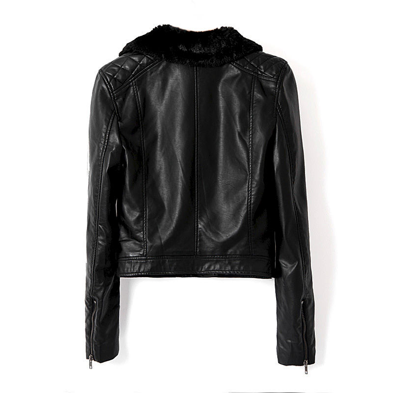 LEATHER LOOK BIKER JACKET WITH FAUX FUR COLLAR - product image