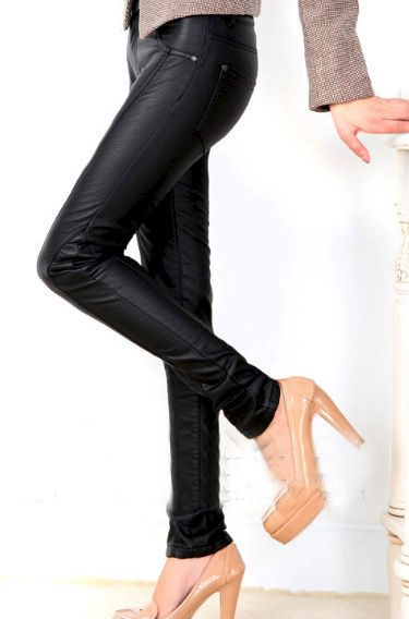 LEATHER LOOK PENCIL TROUSERS - product image