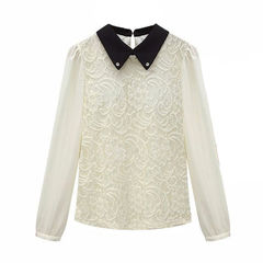 LACE,SHIRT,Long Sleeve Lace Blouse,WHITE LONG SLEEVE LACE SHIRT,BLACK COLLAR LACE SHIRT, splice lace shirt