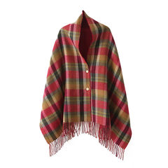 CHECK,PONCHO,Red Plaids Design Big Cape, check pattern scarf, red plaids scarf, check poncho scarf