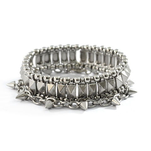 SPIKE,WITH,STUD,BRACELET,SET,SPIKE BRACELET, SILVER STUD BRACELET, SILVER BEAD BRACELET, BEADS AND SPIKE ELASTIC BRACELET