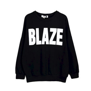 BLAZE,JUMPER,SIMPLE JUMPER, BLACK JUMPER, BLAZE PRINT JUMPER, BLACK BLAZE JUMPER