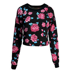 ROSE,JUMPER,ROSE CLOTHING, ROSE PRINT WEAR, ROSE PRINT CLOTHING, PINK ROSE PATTERN JUMPER, ROSE PATTERN JUMPER, ROSE CROPPED JUMPER, CROPPED ROSE JUMPER