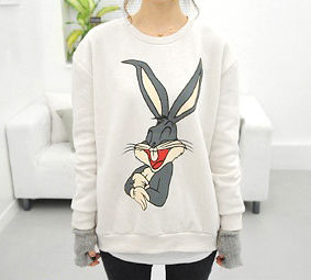 BUNNY,JUMPER,RABBIT JUMPER, CARTOON BUNNY JUMPER, ANIMAL PRINT JUMPER, SIMPLE ANIMAL JUMPER