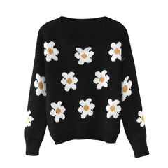 DAISY,JUMPER,FLOWER JUMPER, WHITE FLOWER JUMPER, DAISY PATTERN JUMPER, DAISY FLOWER JUMPER