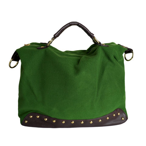 DARK,GREEN,VILLAS,WITH,FAUX,LEATHER,AND,RIVET,SATCHEL,BAG