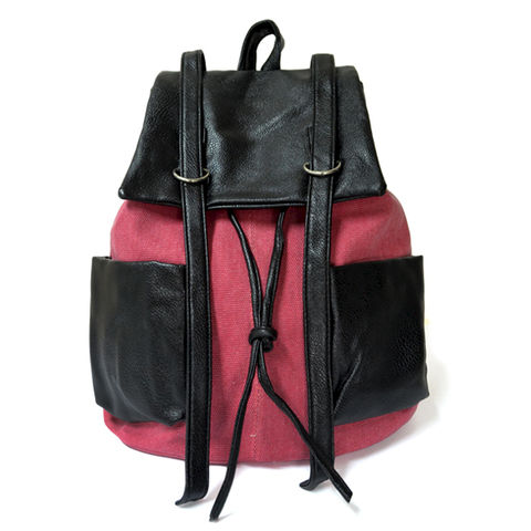CANVAS,WITH,LEATHER,LOOK,BAG,CANVAS BACKPACK, PINK CANVAS BACKPACK, CANVAS WITH LEATHER BACKPACK